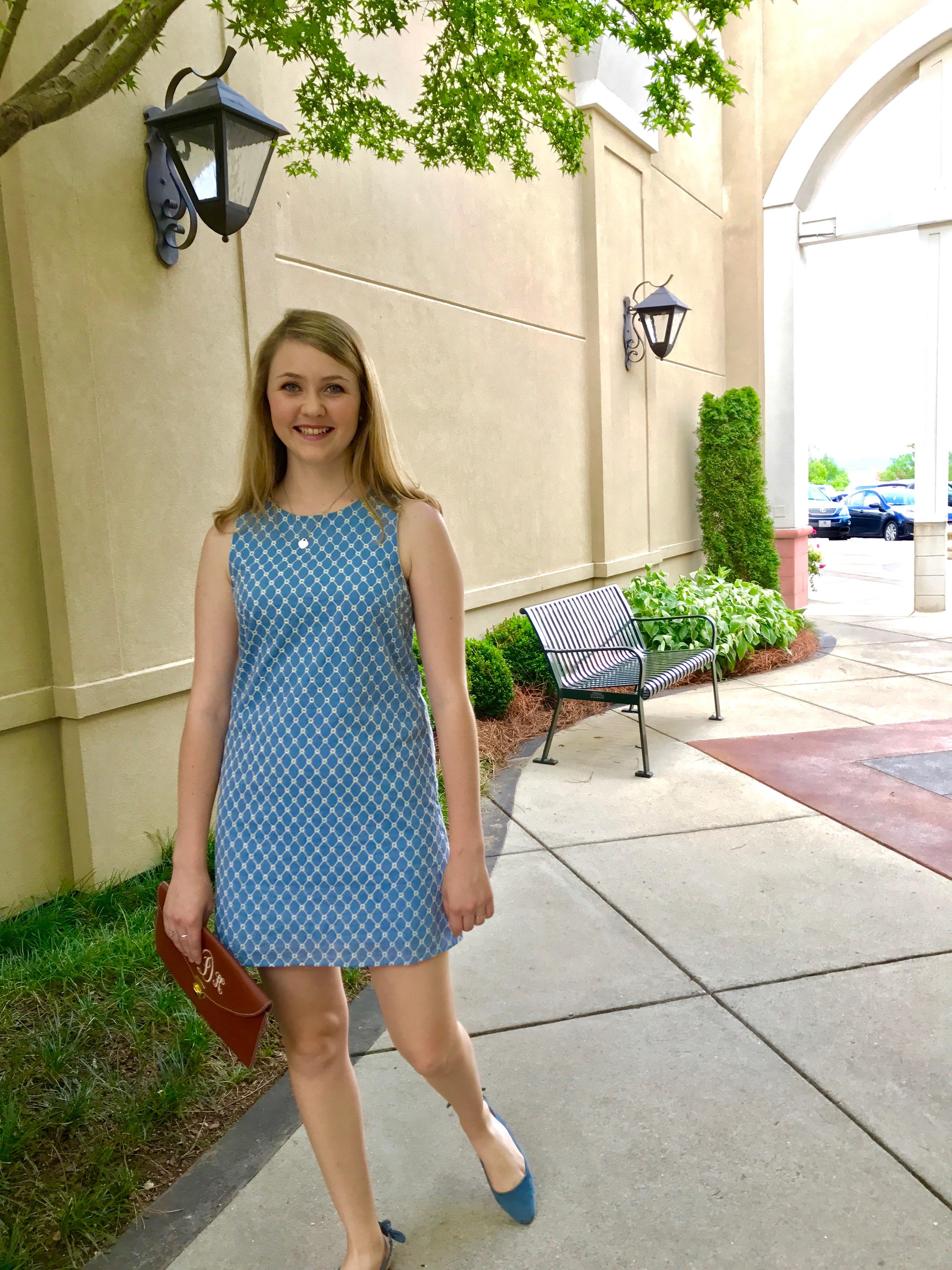 shift dress, cornflower blue with white embroidery, envelope clutch, matching cornflower blue slingback flats